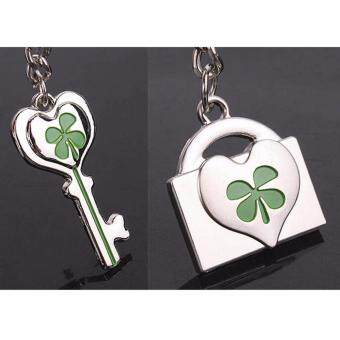 Hequ K038 Fashion and lovely lucky clover couple keychains smallgifts key chain hanging lovers - 3