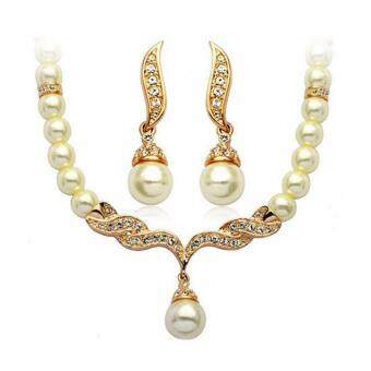 Harga Hequ New african beads jewelry gold set nigerian wedding africabead marriage jewellery sets 18k faux pearl necklace Jewelry setGold