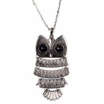 Hequ new chic Fashion Great Vintage Copper Bronze Lovely Gift Owl Pendant Necklace Retro Long Chain Silver