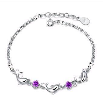 Harga Hequ Popular Women Ladies Girls Fashion 925 Sterling Silver DolphinCrystal Diamond Bracelet Chain Bangle Jewelry new chic style Purple