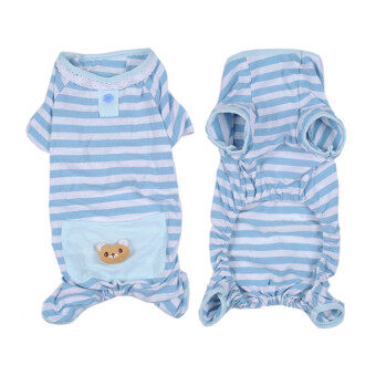 Harga High Quality Cute Bear Comfy Dog Pajams Dog Shirt Stripes DogJumpsuit Pet Dog Clothes Blue