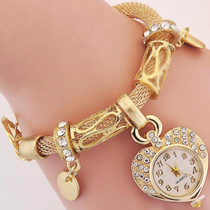 High Quality Rose Gold Rhinestone Watch Women Heart-shaped Ladies Designer Wrist Watches Dress Quartz Malaysia