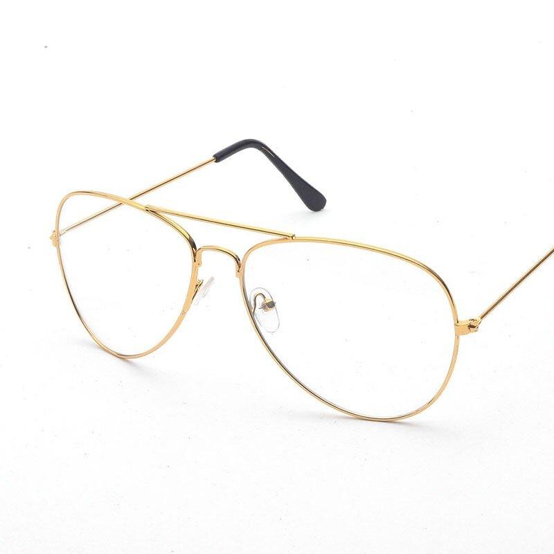 Hindfield 3025 Fashion Aviator Bingkai Kacamata Wanita Merk Desainer  Uniseks Bingkai Logam Vintage Katak Cermin Datar 0a4ba20ced