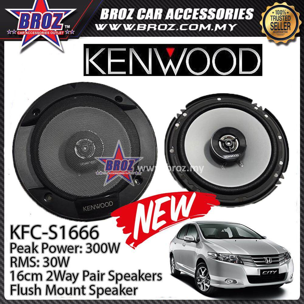 Broz Honda City Rear Kenwood KFC-S1666 Stage Sound Series 2 Way Speakers