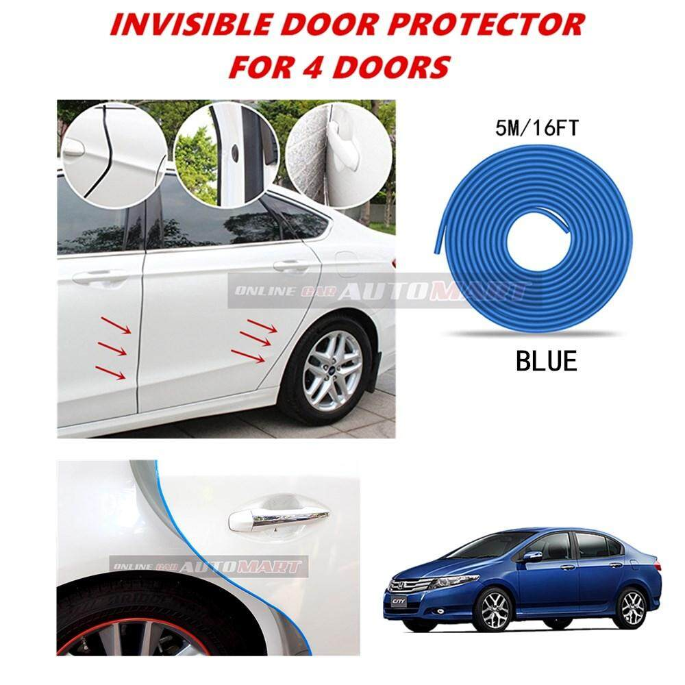 Honda City Yr 2003-2008/City Yr 2008-2014/City Yr 2014-2016 - 16FT/5M (BLUE) Moulding Trim Rubber Strip Auto Door Scratch Protector Car Styling Invisible Decorative Tape (4 Doors)