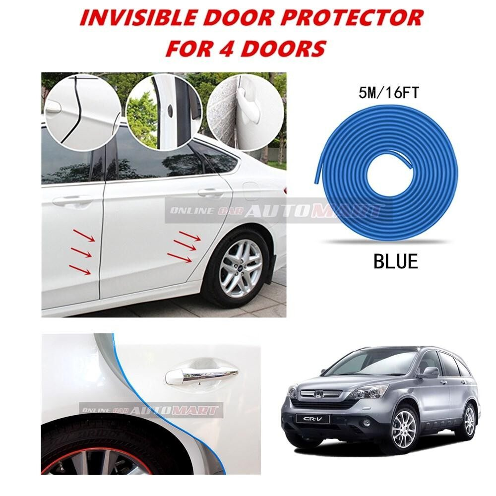 Honda CRV Yr2003-2007/CRV Yr2008-2011/CRV Yr2012-2015/CRV Yr2015-2016 - 16FT/5M (BLUE) Moulding Trim Rubber Strip Auto Door Scratch Protector Car Styling Invisible Decorative Tape (4 Doors)