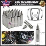 Broz Honda High Quality Aluminum Universal M12 x P1.5 Wheel Nut - Silver (20PCS)