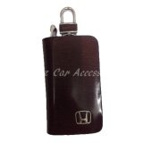 Honda High Quality Premium Leather Car Key chain Key Holder Bag Dark Brown Zipper Case Remote Wallet Bag