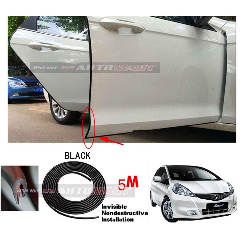 Honda Jazz Yr 2003-2007/Jazz Yr 2008-2013/Jazz Yr 2014-2016 - 16FT/5M (BLACK) Moulding Trim Rubber Strip Auto Door Scratch Protector Car Styling Invisible Decorative Tape (4 Doors)