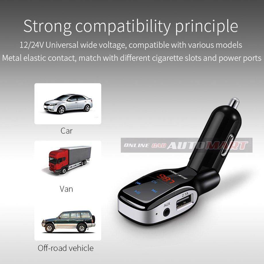 HSC YC-37 Dual USB 3.1A Car Charger Bluetooth MP3 Player Fast Charge Support for TF Card play