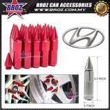 Broz Hyundai High Quality Aluminum Universal M12 x P1.5 Wheel Nut - Red (20PCS)