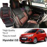 Broz Hyundai i10 Red Lining Design Universal Car PU Seat Mat with Lumbar Support Per Piece