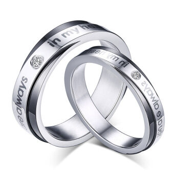 "Harga Stainless Steel Couple Ring ""You are always in my heart"" for Lovers Engagement Promise,Black Silver"