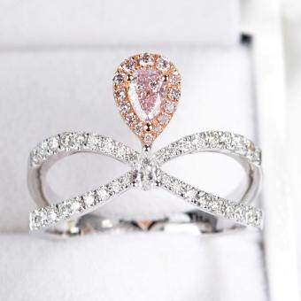 Harga Pink diamond engagement ring Pear Pink diamond ring Halo diamond ring set Half eternity ring Infinity ring 14K Solid white gold Promise ring Anniversary ring