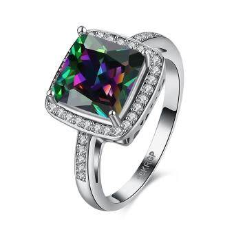 Harga 2017 Fashion Square Multicolour Zircon Ring - New Fancy