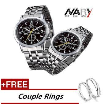 Harga NARY 6033 Dial Classic Couple Lover Women Men Quartz Full Stainless Steel Wrist Watch Black ( with Free Adjustable Lovers Rings )