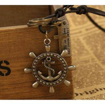 Harga Anchor Leather Necklace Pendant Necklace Retro Jewelry