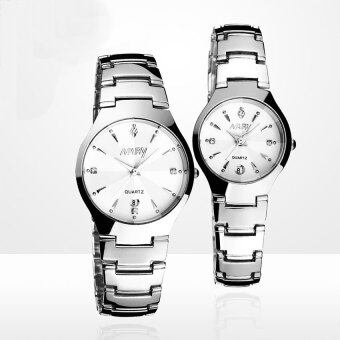 Harga 2016 Best Quality NARY 6112 Single Calendar Couple's Quartz Watch(white)