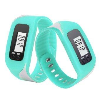 Harga Coconie Digital LCD Pedometer Run Step Walking Distance Calorie Counter Watch Bracelet Sky Blue
