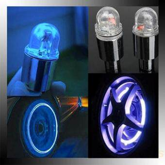 Harga 1 Pair Motor Cycling Bike Bicycle Car Tyre Tire Valve LED Wheel Lights (Blue)