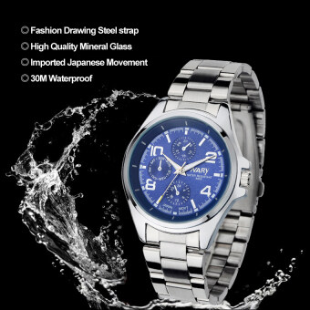 Harga 2016 High Quality NARY 6050 Men's Classical Stainless Steel Band Quartz Watch (blue)