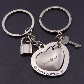 Harga Hequ New 1 Pair New Love Heart Lock Key Chain Ring Keyring Keyfob Lover Couples Gift BEGO