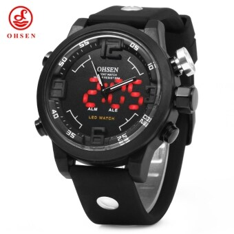 Harga OHSEN AD2820 Men Big Dial Silicone Sports LED Quartz Watch 5ATM Water Resistant with Date Week Alarm