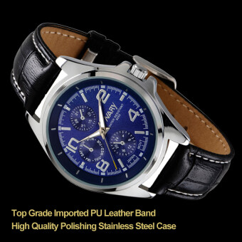 Harga 2016 Best Quality NARY Original 6050 Men's PU Leather Band Classic Watch(blue)