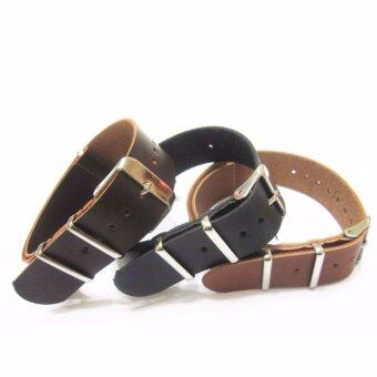 Harga Buy 1 Get 3 Twinklenorth 22mm Black Brown Leather Nato Military Watch Band Strap NATO-022