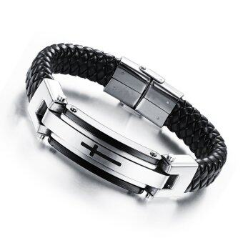 Harga Cross Braide Leather Bracelets Cuff Bangle Solid Stainless Steel Mens Fashion Jewelry (Silver)