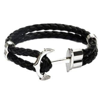 Harga Fancyqube Men Double-Deck Boat Anchor Weave Chain Leather Bracelets Black Rope Silver Anchor