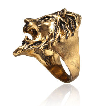 Harga Stainless Steel Lion's Head Ring Men's Vintage Cool Ring American Size 8-11 FE gold 11