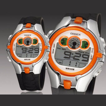 Harga OHSEN Boys Kids Student Boy Digital Sport Waterproof Children Watch Alarm Date Chronograph LED Back Light Wristwatch(Orange)