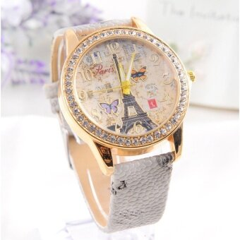 Harga Fashion Paris Style Tower Butterfly PU Leather Women Watch White