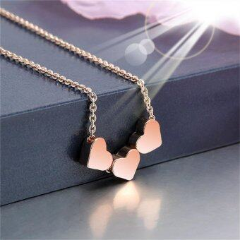 Harga Heart Women Gold Silver Rose Gold Stainless Steel Jewelry Charm Necklace Pendant Rose Glod