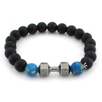 Harga Natural Onyx Gemstone Bead Fitness Fit Life Dumbbell Stretchable Bracelet Fits All Men Women(dark blue)