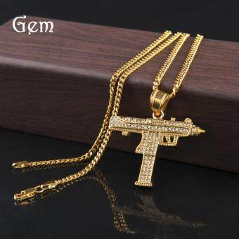 Harga Unique Fantastic Men's Auger Submachine Gun Pendant Hip Hop Necklace(Gold)