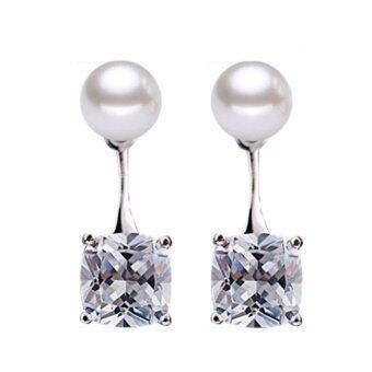 Harga Hequ Stylish Korea Version Super Flash Drop Silver Stud Earrings Korean Hanging Pearl Temperament Hypoallergenic Earrings