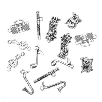 Harga 14pcs Vintage Musical Instrument Charms Pendants DIY Jewelry Making Craft