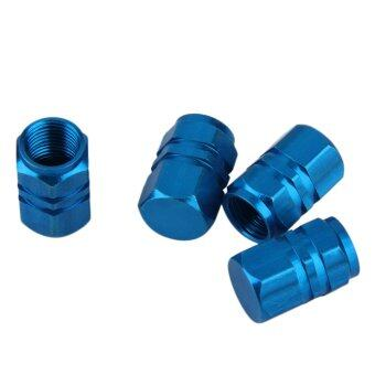 Harga OH 4pcs Aluminum Car Truck Bike Tire Tyre Wheel Rims Air Valve Stem Caps Cover Blue