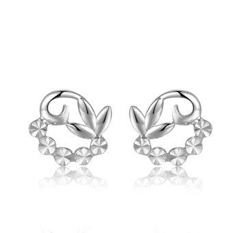 Harga MaBelle 14K White Gold Polished Glowing Flower With Beads Decoration Stud Earrings