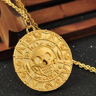 Harga Retro Vintage Pirates of the Caribbean Aztec Coin Skull Pendant Necklace