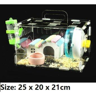 Harga INCLUDED ACCESSORIES 【DIY】Habitrail Cristal Hamster House / Home / Cage Single Story Level Water Bottle Transparent with Nice View and Good Vantilation (25 x 20 x 21cm)
