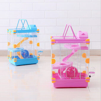 Harga Promotional multicolor hamster cage Heightening Dream Castle Travel carry Three layer squirrel cage Supplies & Pet