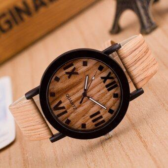 Harga Roman Numerals Wood Leather Band Analog Quartz Vogue Wrist Watches