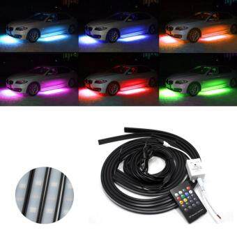 Harga Aukur 4PCS Car Chassis Atmospher Strip Light RGB Remote Control Led Waterproof Soft Glow Flashing Lamp For Car Decoration