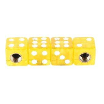 Harga 4Pcs/lot Bicycle Gas Cap Universal Dice Car Truck Bike Tyre Tire Air Valve Cap Yellow