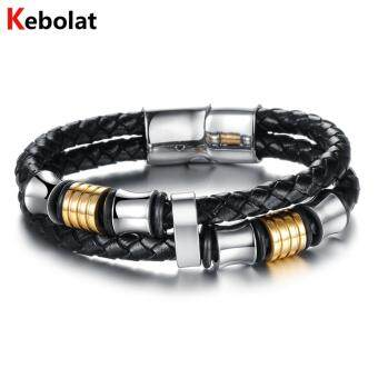 Harga Kebolat 220MM Stainless Steel Wire Genuine Leather Bracelets Fashion Men Bracelet Cool Man Casual Bracelet Trend Male Jewelry Accessorie