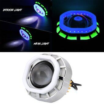 Harga Motorcycle Headlight LED Hi/Lo Lens Projector Lamp Set Angel Eye+Devil Eye 12W