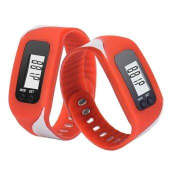 Harga Coconie Digital LCD Pedometer Run Step Walking Distance Calorie Counter Watch Bracelet Red